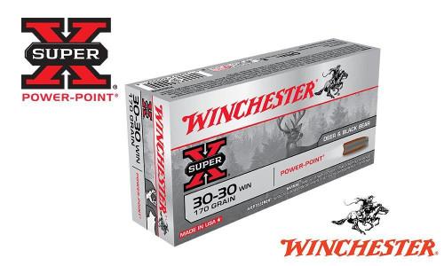WINCHESTER 30-30 WIN SUPER X, POWER POINT 170 GRAIN BOX OF 20