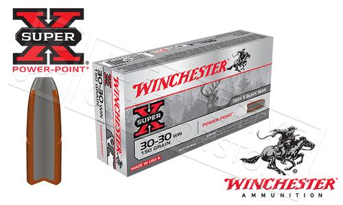WINCHESTER 30-30 WIN SUPER X, POWER POINT 150 GRAIN BOX OF 20