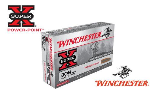 WINCHESTER .308 WIN SUPER X, POWER POINT 180 GRAIN BOX OF 20