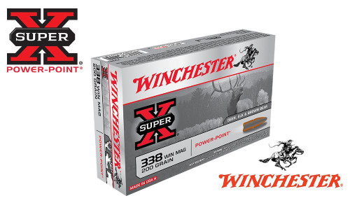 WINCHESTER .338 WIN MAG SUPER X, POWER POINT 200 GRAIN BOX OF 20