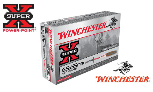 WINCHESTER 6.5X55 SWEDISH SUPER X, SOFT POINT 140 GRAIN BOX OF 20