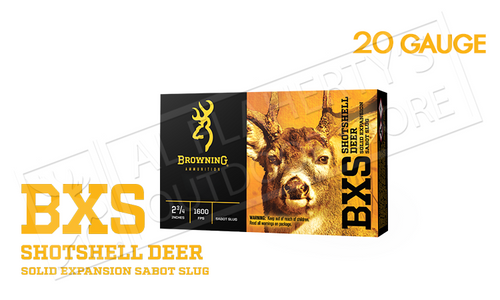 """Browning Ammo BXS Sabot Slugs 20 Gauge 2.75"""" 3/4 oz. Box of 5 #B193112021"""