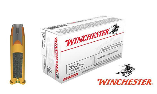 WINCHESTER .357 MAGNUM WHITE BOX, JHP 110 GRAIN BOX OF 50