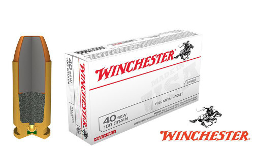 WINCHESTER .40S&W WHITE BOX, TFMJ 180 GRAIN BOX OF 50