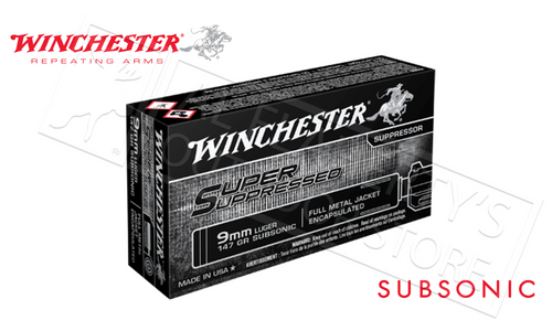 WINCHESTER SUPER SUPPRESSED 9MM, 147 GRAIN FMJ BOX OF 50