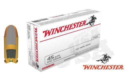 WINCHESTER .45ACP WHITE BOX, FMJ 230 GRAIN BOX OF 50