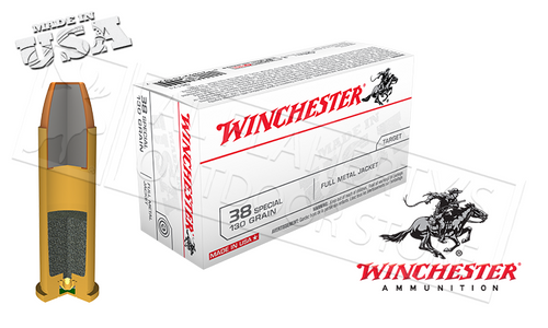 WINCHESTER .38 SPECIAL WHITE BOX, FMJ 130 GRAIN BOX OF 50