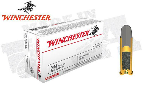 WINCHESTER .38 SPECIAL WHITE BOX, LEAD ROUND NOSE 150 GRAIN BOX OF 50