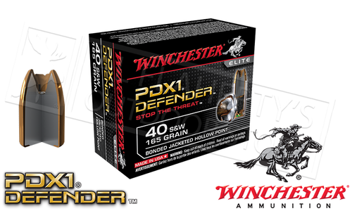 Winchester .40S&W PDX1 Defender, Bonded JHP 165 Grain Box of 20 #S40SWPDB