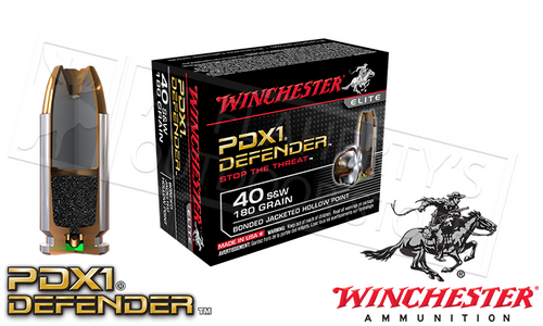 WINCHESTER .40S&W PDX1 DEFENDER, BONDED JHP 180 GRAIN BOX OF 20