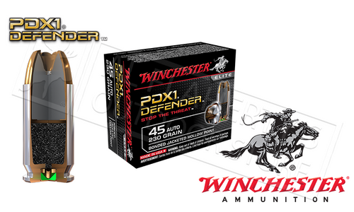 WINCHESTER .45ACP PDX1 DEFENDER, BONDED JHP 230 GRAIN BOX OF 20