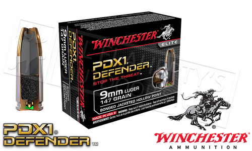 WINCHESTER 9MM LUGER PDX1 DEFENDER, BONDED JHP 147 GRAIN BOX OF 20