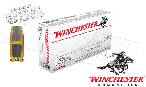 WINCHESTER .45ACP WHITE BOX, FMJ 185 GRAIN BOX OF 50