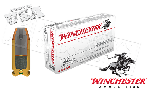 WINCHESTER .45ACP WHITE BOX, JHP 230 GRAIN BOX OF 50