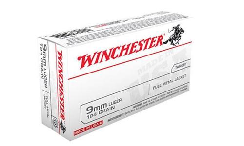WINCHESTER 9MM WHITE BOX, FMJ 124 GRAIN BOX OF 50