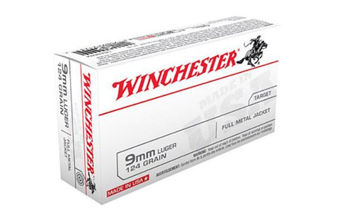 WINCHESTER 9MM WHITE BOX, FMJ 124 GRAIN BOX OF 50