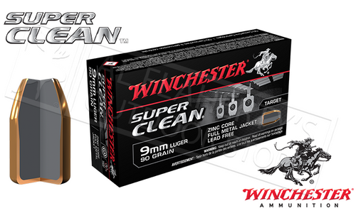 WINCHESTER 9MM SUPER CLEAN, 90 GRAIN BOX OF 50