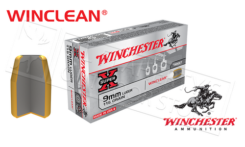 WINCHESTER 9MM WINCLEAN, TFMJ 115 GRAIN BOX OF 50
