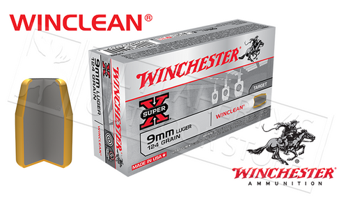 WINCHESTER 9MM WINCLEAN, TFMJ 124 GRAIN BOX OF 50