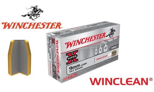WINCHESTER 9MM WINCLEAN, FMJ 147 GRAIN BOX OF 50