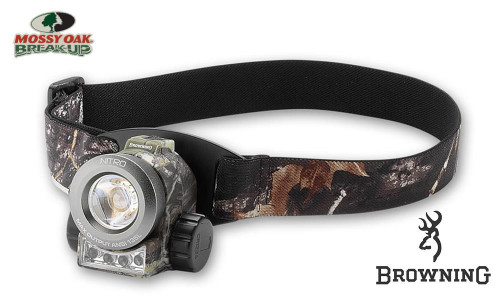 Browning Nitro Headlamp, 1 Watt + 3 LED, 205 Lumens, Mossy Oak Break-Up Strap #3718620