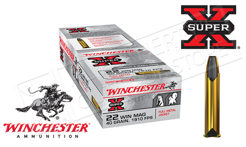 WINCHESTER 22WMR SUPER X, FMJ 40 GRAIN BOX OF 50