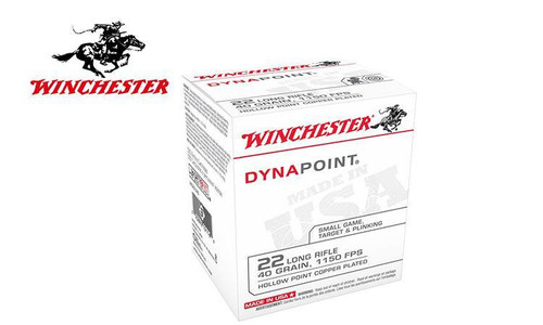 WINCHESTER DYNAPOINT AMMUNITION 22 LONG RIFLE 40 GRAIN COPPER PLATED HOLLOW POINT BOX OF 500