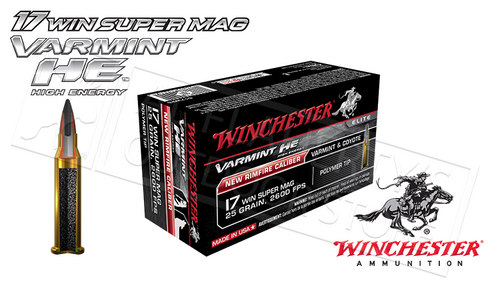 WINCHESTER 17WSM VARMINT HE, 25 GRAIN BOX OF 50