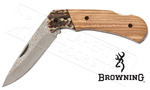 Browning Second Chance Folding Knife with Stag and Zebrawood Handle #3220297