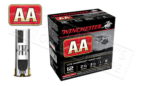 "12 GAUGE - WINCHESTER AA LITE HANDICAP TARGET LOADS, 2-3/4"" #8 SHOT CASE OF 250"