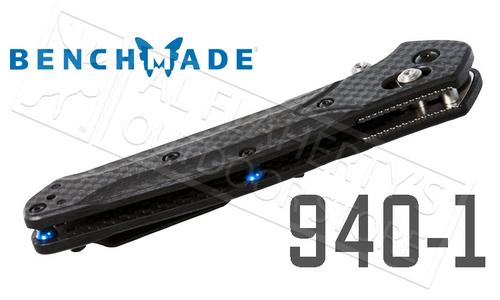 BENCHMADE 940 EDC FOLDING KNIFE BY OSBORNE DESIGN, PLAIN EDGE WITH SATIN FINISH AND CARBON FIBER HANDLE #940-1