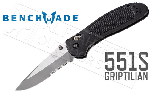 BENCHMADE 551S GRIPTILIAN FOLDER WITH SERRATIONS BY PARDUE DESIGN