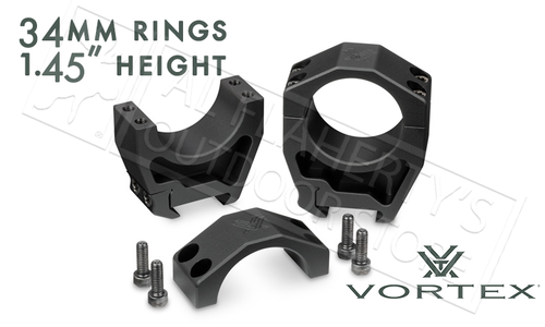 "Vortex Precision Matched Rings 34mm, 1.45"" Height #PMR-34-145"
