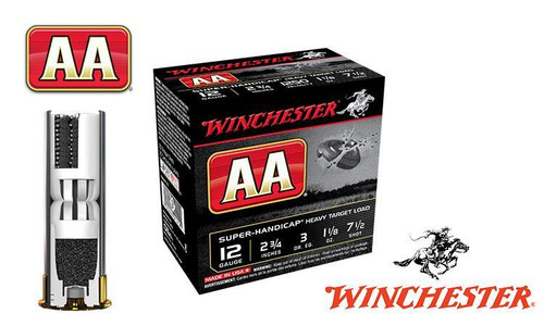 "(STORE PICKUP ONLY) 12 GAUGE - WINCHESTER AA SUPER-HANDICAP, #7.5, 2-3/4"", 1-1/8 OZ., CASE OF 250"