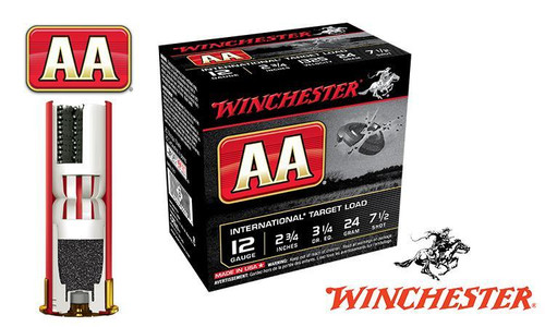 "(STORE PICKUP ONLY) 12 GAUGE - WINCHESTER AA INTERNATIONAL TARGET LOAD, #7-1/2, 2-3/4"", 24 GRAMS 1325 FPS, CASE OF 250"