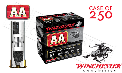 "(STORE PICKUP ONLY) 12 GAUGE - WINCHESTER AA SUPER SPORT SPORTING CLAYS SHOT SHELLS, 2-3/4"" #9 SHOT CASE OF 250"