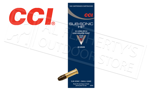 CCI 22LR Subsonic HP, 40 Grain Box of 100 #0056