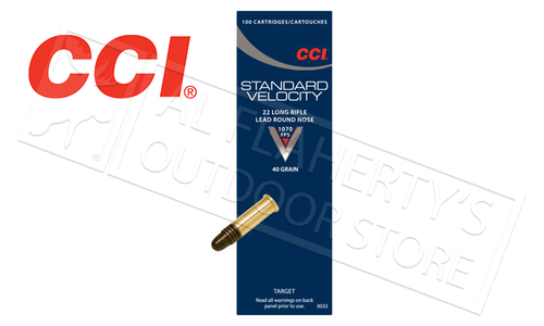 CCI Standard Velocity 22LR, 40 Grain Lead Round-Nose Box of 100 #0032