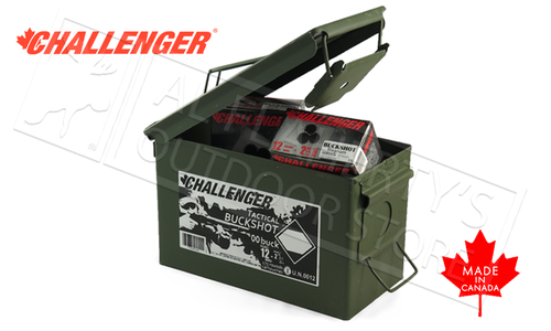 "Challenger Target Buckshot 12 Gauge 2-3/4"" 00-Buck 9-Pellet Can of 175 Shells #04100"