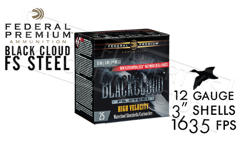 "Federal Black Cloud FS Steel High Velocity with FliteControl Flex Wad 12 Gauge #2 to #BB Shot 3"" Box of 25 #PWBXH143"