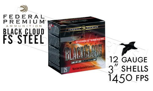 "Federal Black Cloud FS Steel with FliteControl Flex Wad 12 Gauge 3"" Box of 25 #PWBX142"