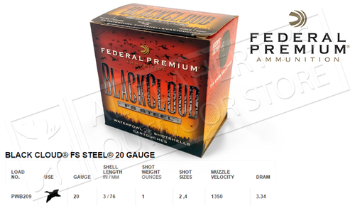 Federal Black Cloud FS Steel 20 Gauge Box of 25 #PWB209