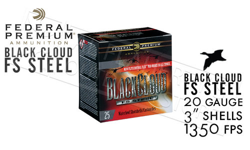 "Federal Black Cloud FS Steel with FliteControl Flex Wad 20 Gauge 3"" Box of 25 #PWBX209"