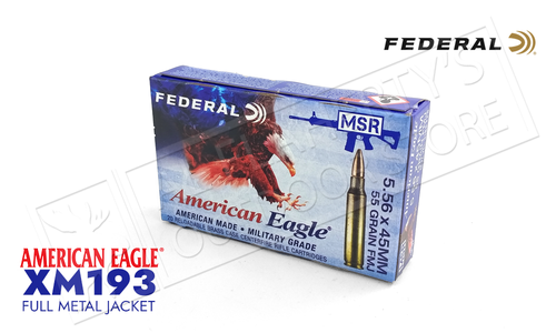 Federal American Eagle MSR 5.56 55 Grain FMJ Box of 20 or $249.75 for 500 Rounds #XM193