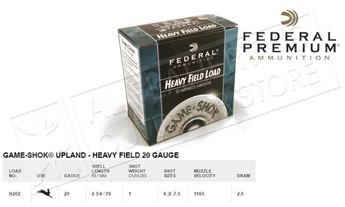 """Federal Game-Shok Upland Heavy Field Load 20 Gauge 2-3/4"""", Box of 25 #H202"""