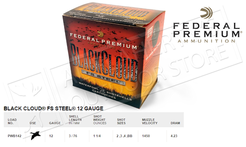 "Federal Black Cloud FS Steel 12 Gauge 3"", Box of 25 #PWB142"