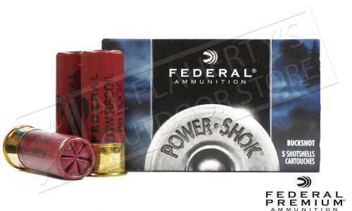 "Federal Power-Shok Low Recoil Shells 12 Gauge 2-3/4"" 00 Buckshot 9 Pellets Box of 5 #H13200"