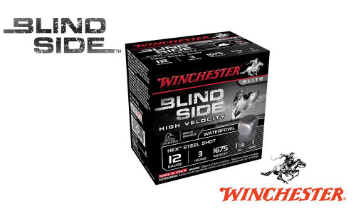 "12 GAUGE - WINCHESTER ELITE BLIND SIDE HIGH VELOCITY WATERFOWL SHELLS, 3"" #1, 3, OR 6 SHOT, 1-1/8 OZ., 1675 FPS, BOX OF 25"