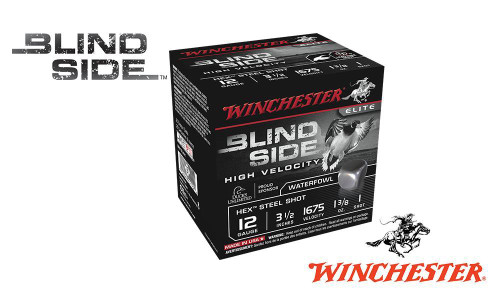 "12 GAUGE - WINCHESTER ELITE BLIND SIDE HIGH VELOCITY WATERFOWL SHELLS, 3-1/2"" #BB, 1, 2, OR 6 SHOT, 1-3/8 OZ., 1675 FPS, BOX OF 25"