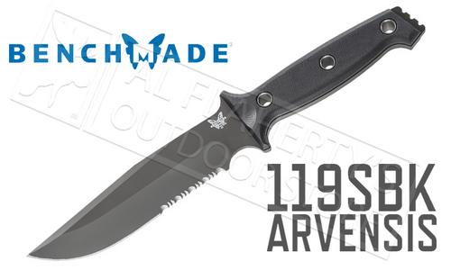 BENCHMADE 119 ARVENSIS FIXED BLADE KNIFE BY SIBERT, SERRATED BLADE G10 #119SBK